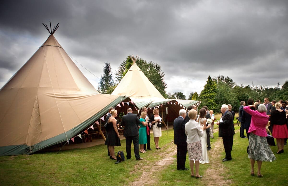 Outdoor wigwam wedding marquee at Lemore manor