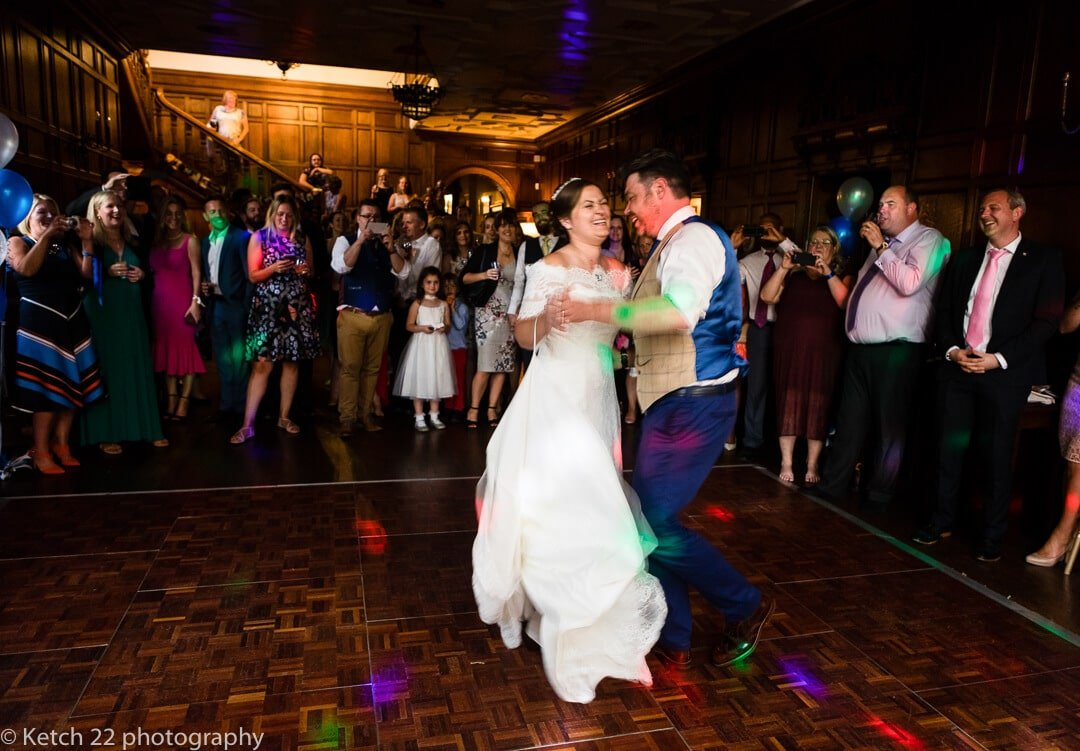 Bride and groom enjoy first dance at Whitney Court