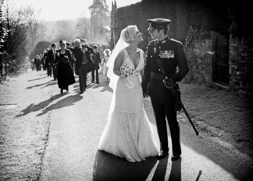 Bride and groom at military wedding