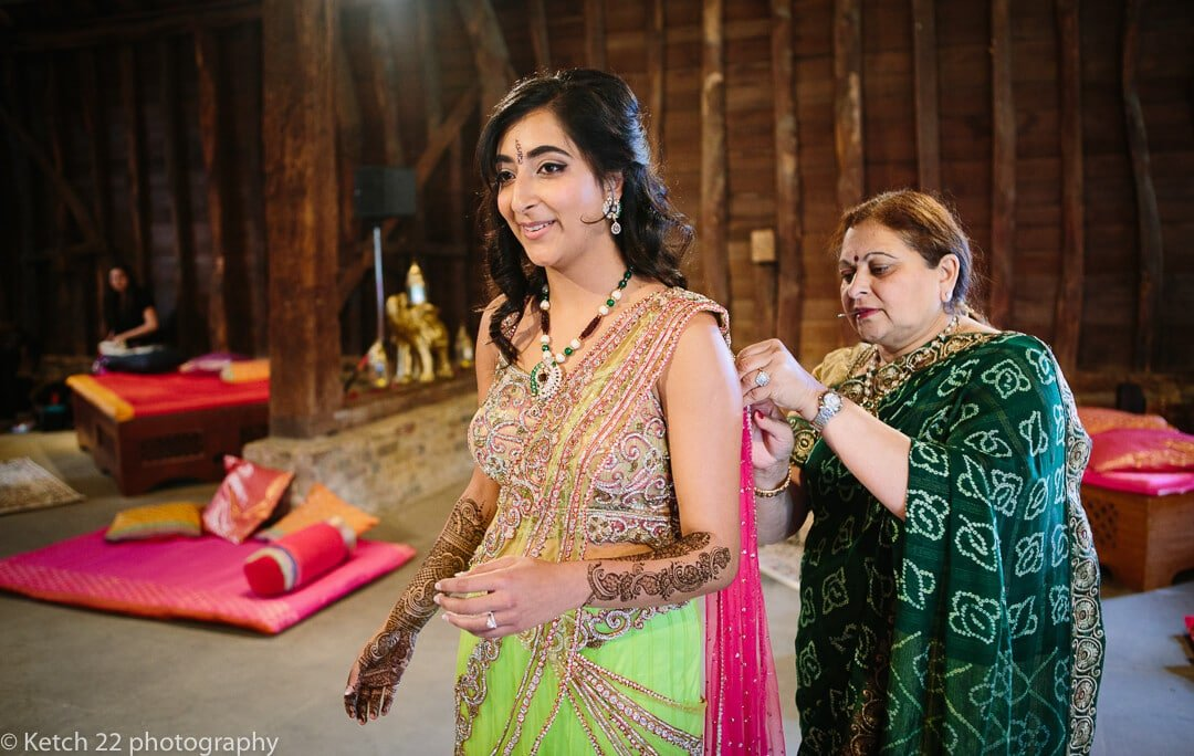 Bride getting ready for indian Henna evening