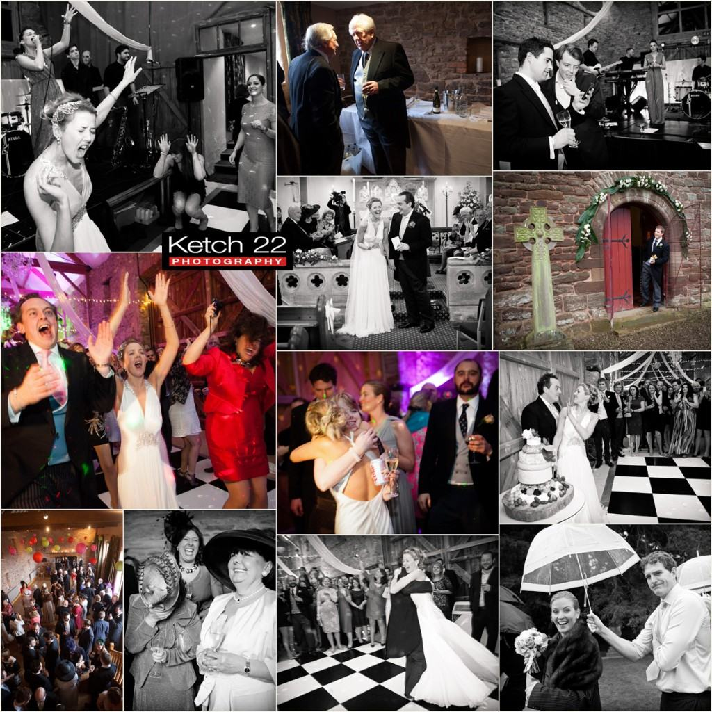 Bride and groom having fun at wedding reception at Lyde Arundel Herefordshire