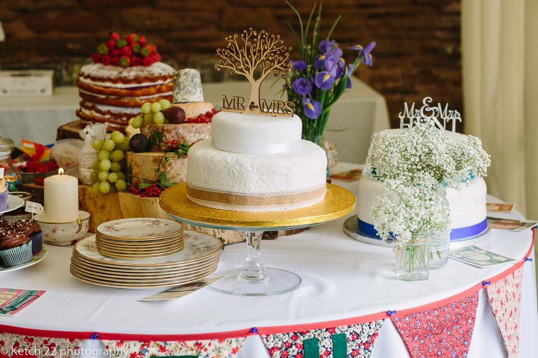 Vintage wedding cake selection at How Caple Court
