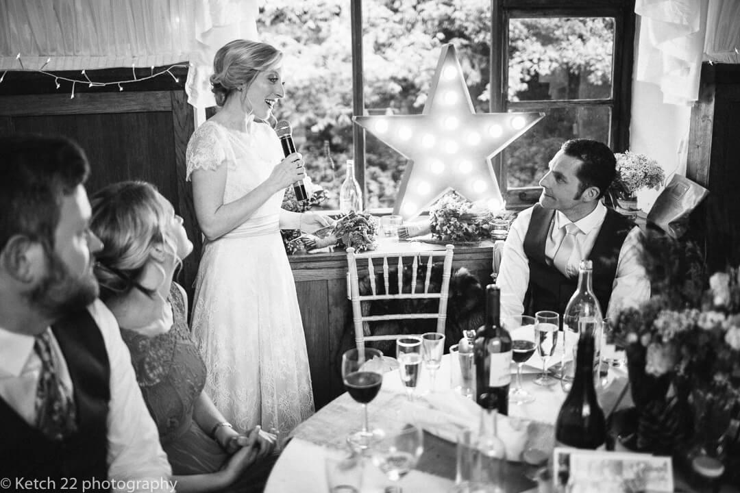 Bride making wedding speech at How caple Court