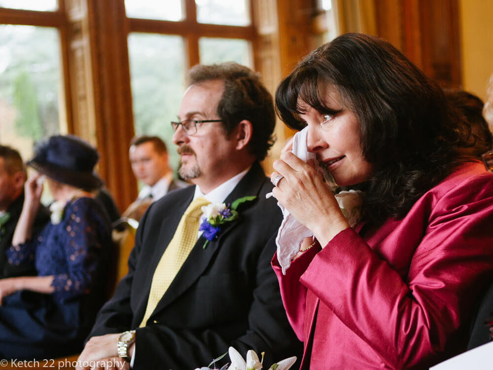 Mother in tears of joy at Manor by the lake wedding