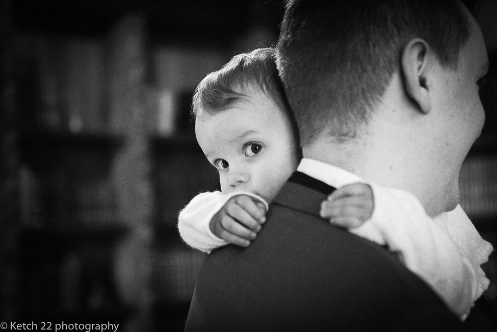 Shy baby at Manor by the lake wedding Gloucestershire
