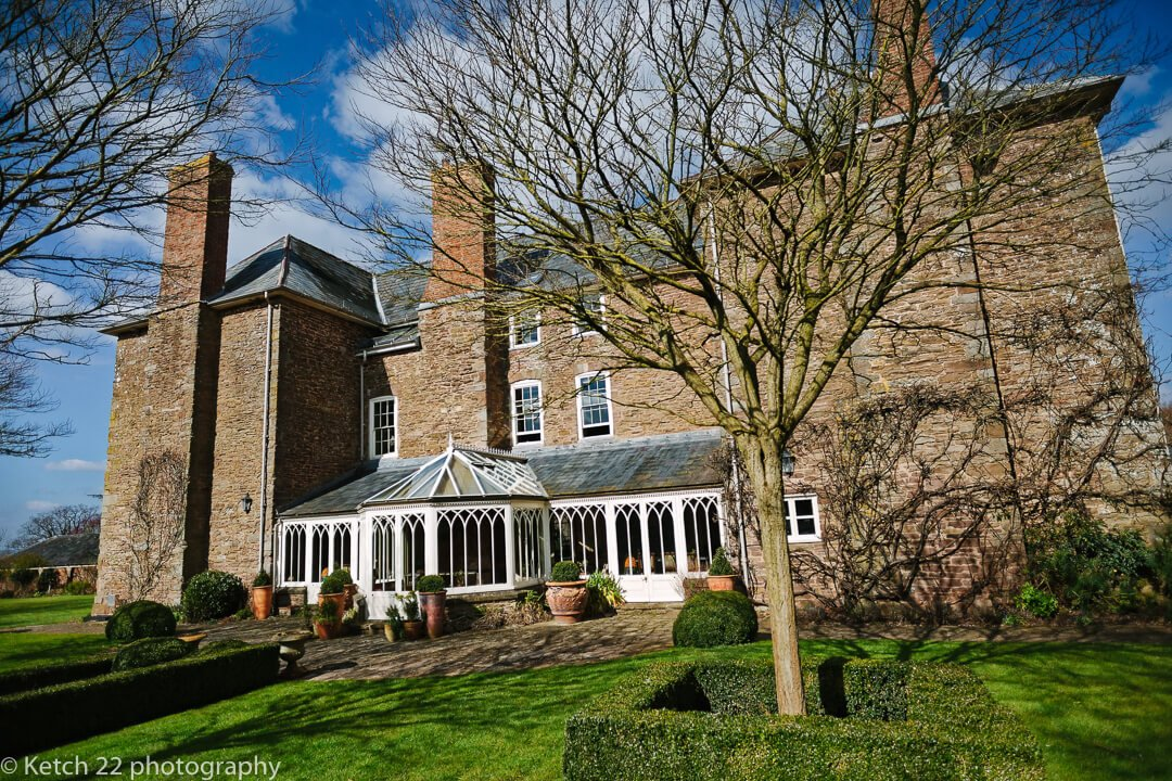 View from back of Dewsall court wedding venue