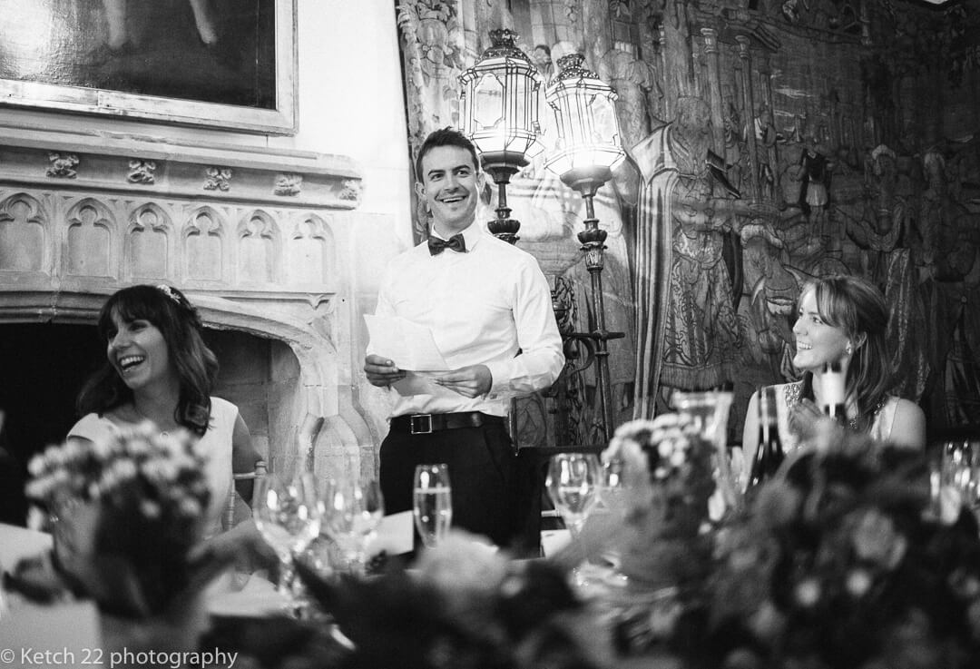 Best man making wedding speech