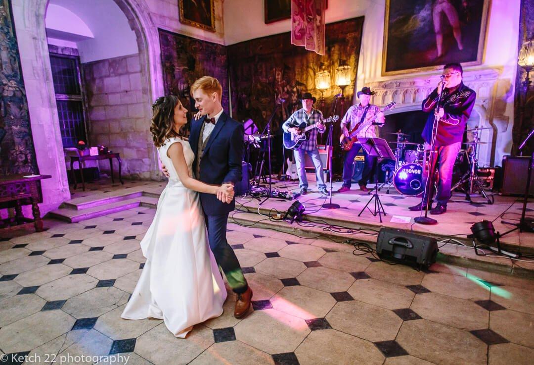 Bride and groom dancing at Berkeley castle wedding