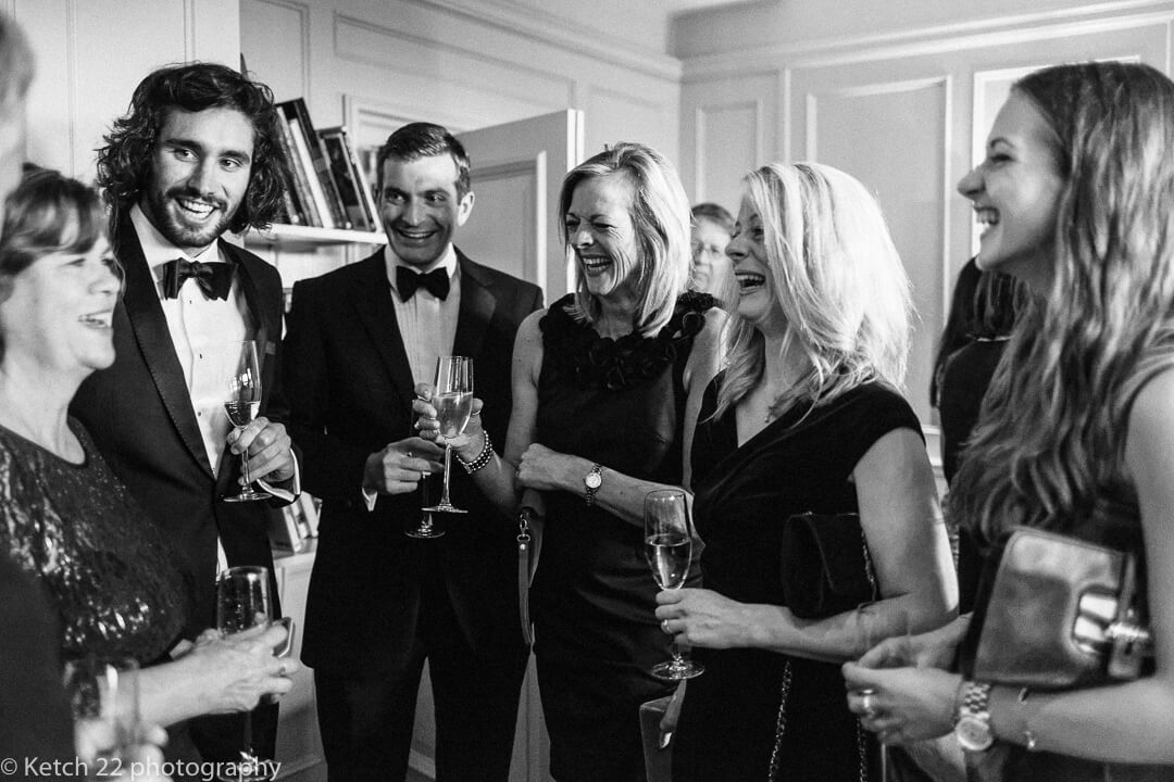 Documentary wedding photo of wedding guests at Country House Manor