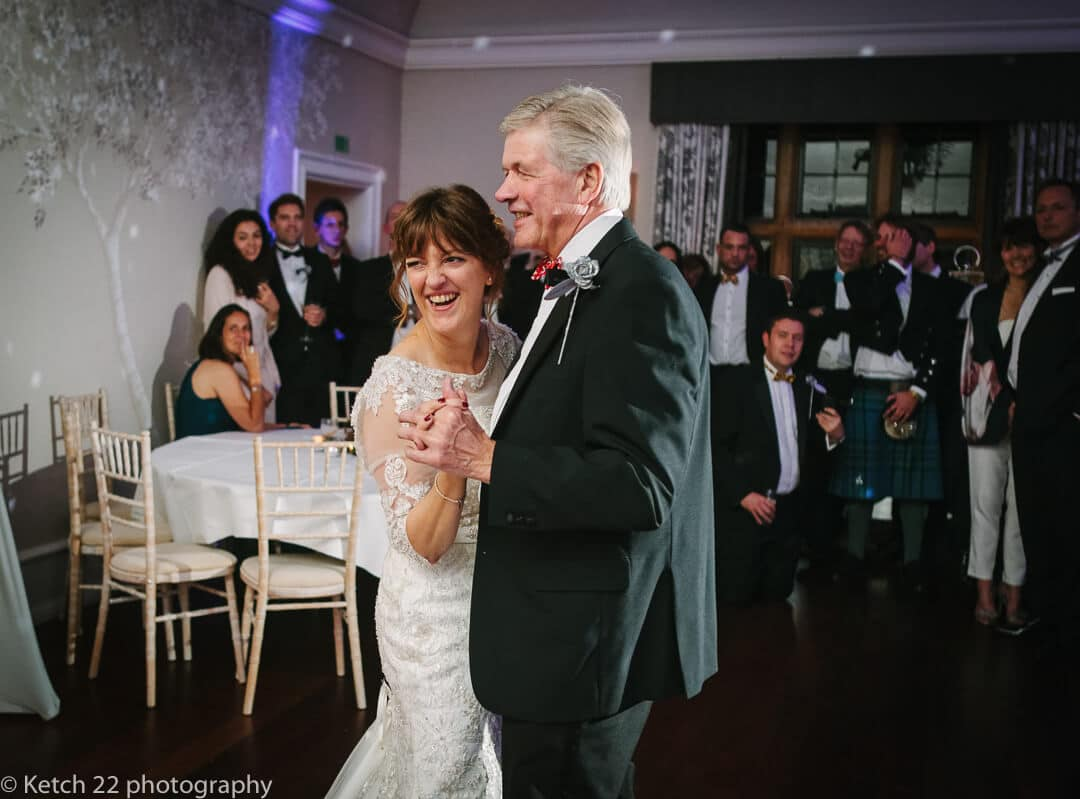 older bride and groom enjoy the first dance at wedding reception