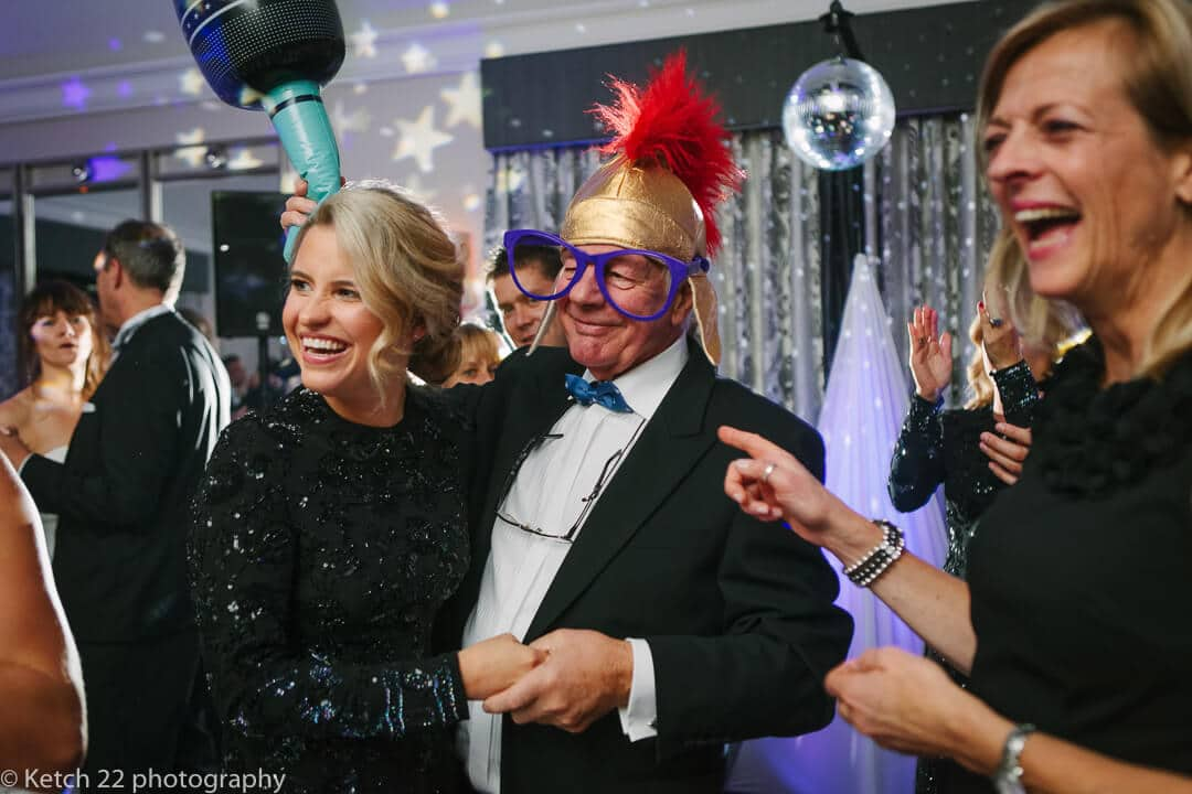 Funny photo of wedding guests wearing Fancy dress
