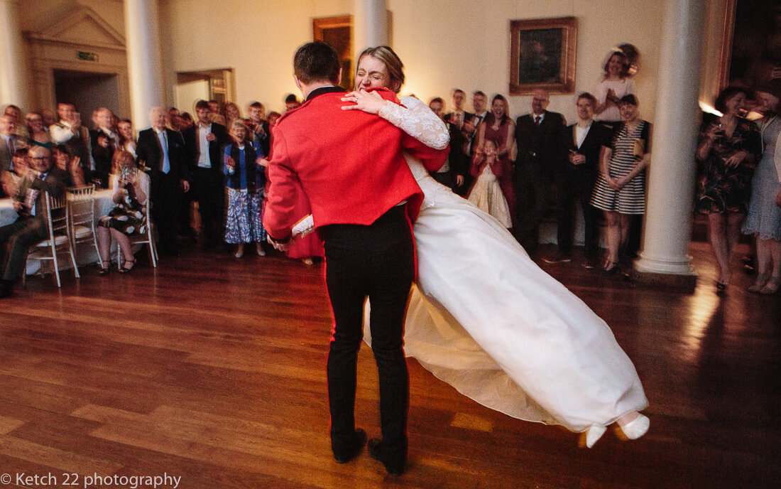 First dance with bride and groom at wedding reception