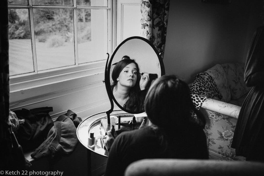 Bridesmaid getting ready at Homme House wedding