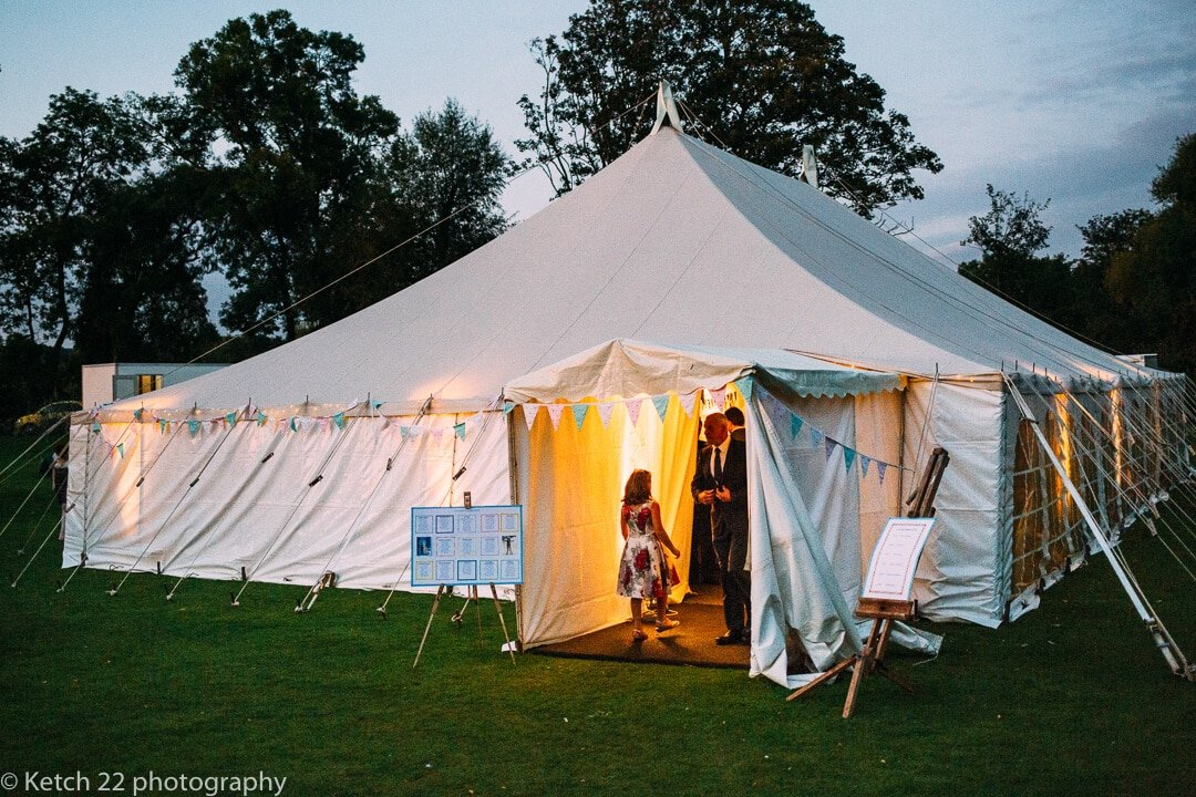 View of wedding marquee at Upper Court