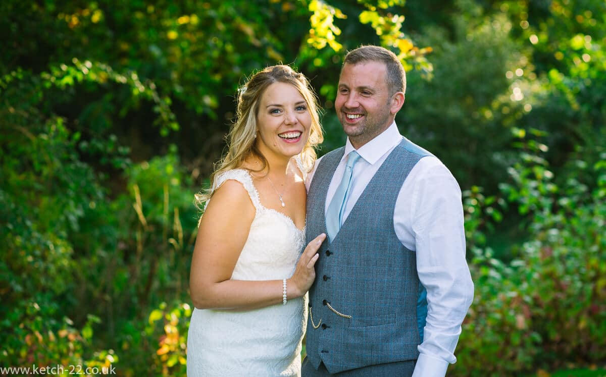 Portrait of bride and groom at Gloucestershire wedding