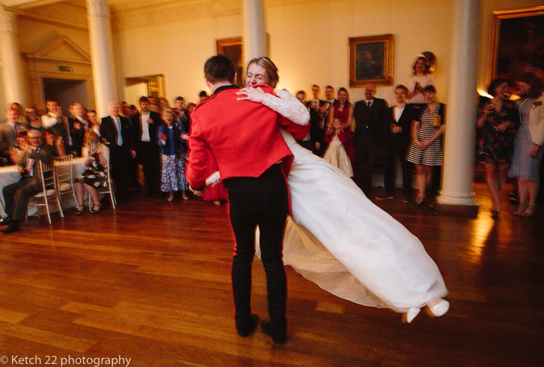 Bride and groom at first dance at country house wedding in Somerset