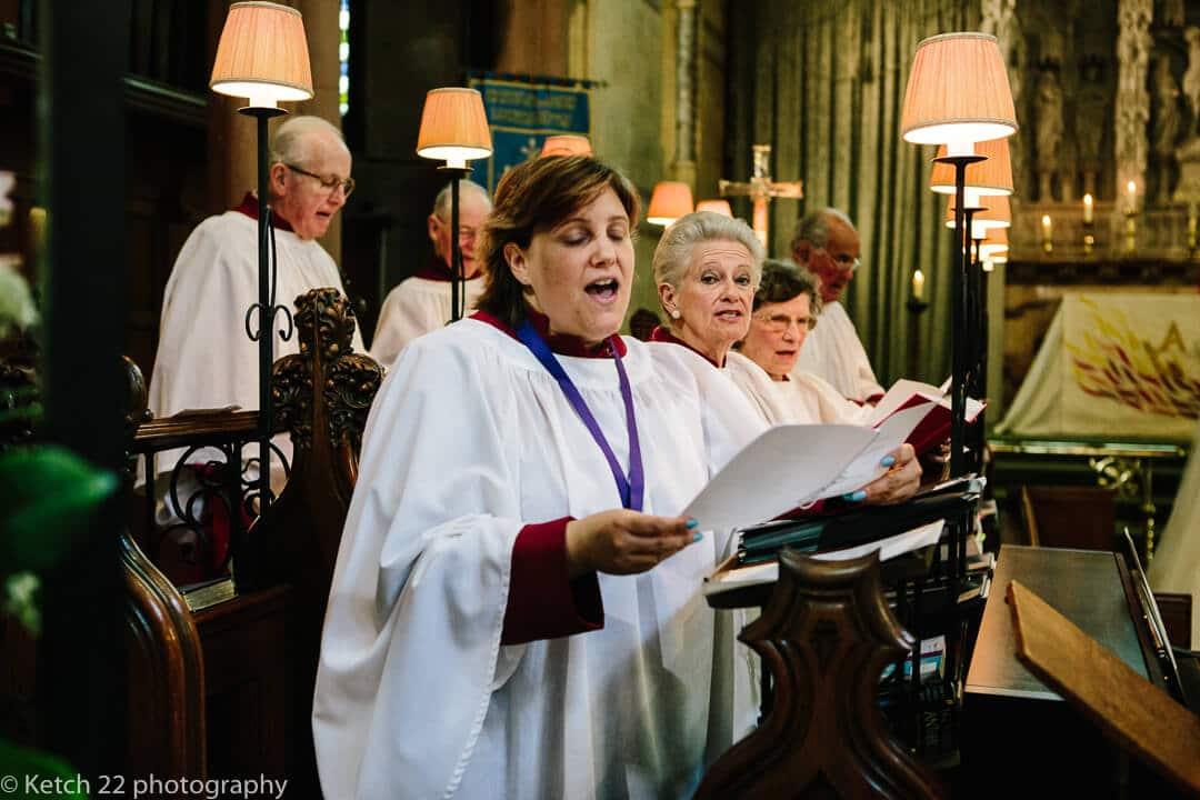 Church choir singing at wedding ceremomy