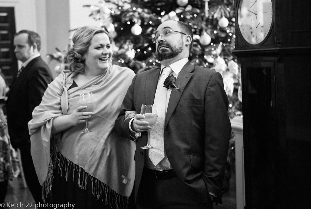 Quirky photojournalistic photo of wedding guests