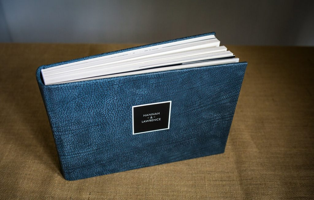 Blue leather wedding album Gloucestershire