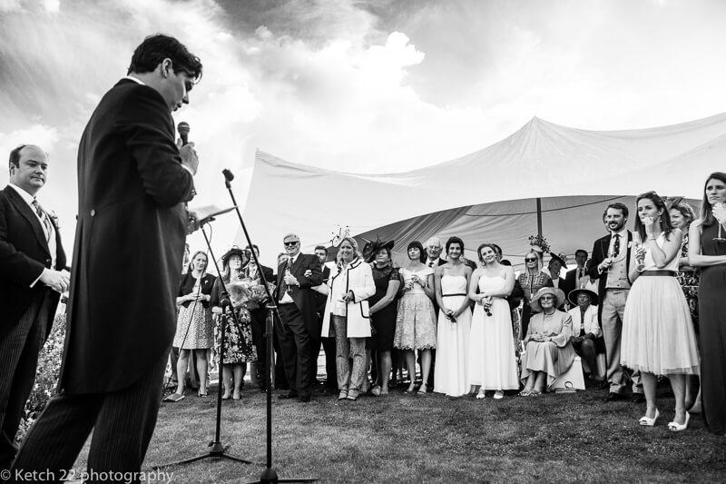 Best man making speech at Dorset summer wedding