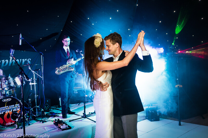 First dance with bride and groom at dorset summer wedding
