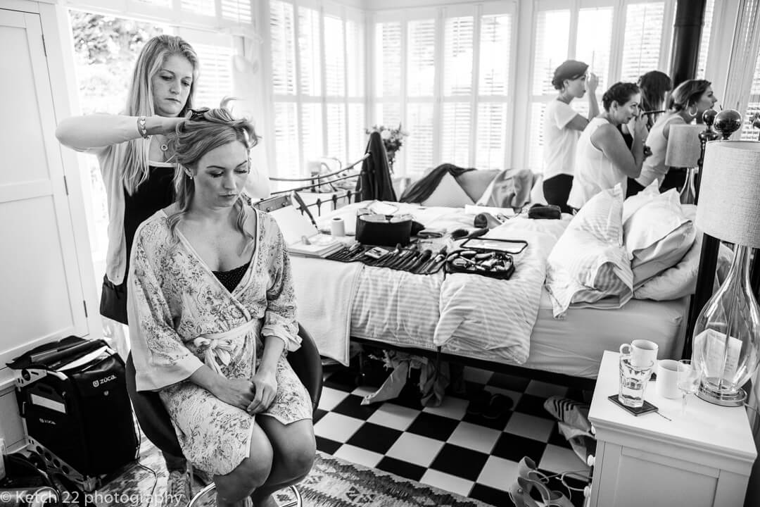Bride getting ready for Hilles House wedding