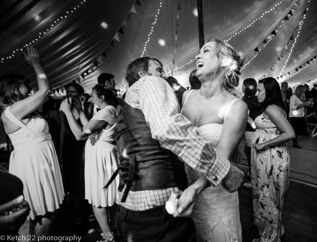 Wild dancing with bride and wedding guest
