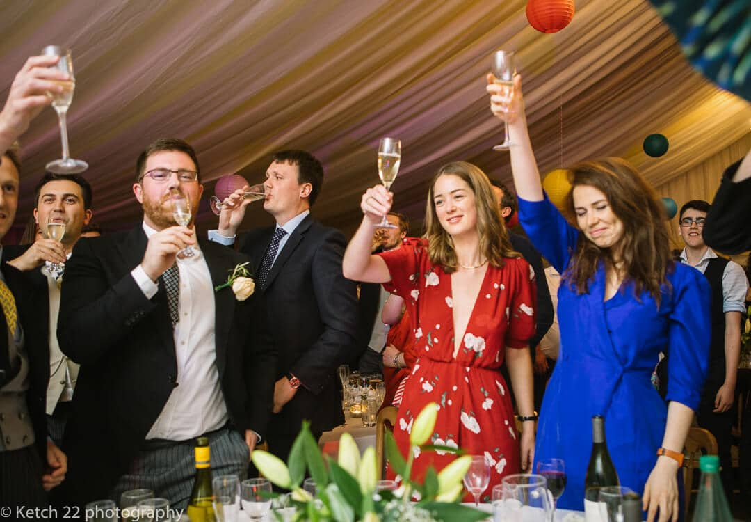 Top table toasting the wedding speeches