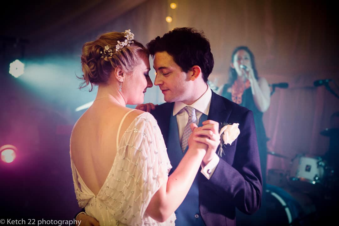Bride and groom enjoy first dance at Oxfordshire wedding