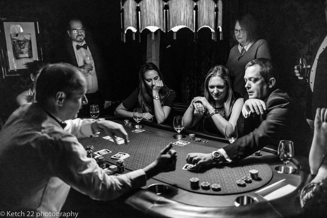 Wedding guests gambling at casino at Somerset wedding