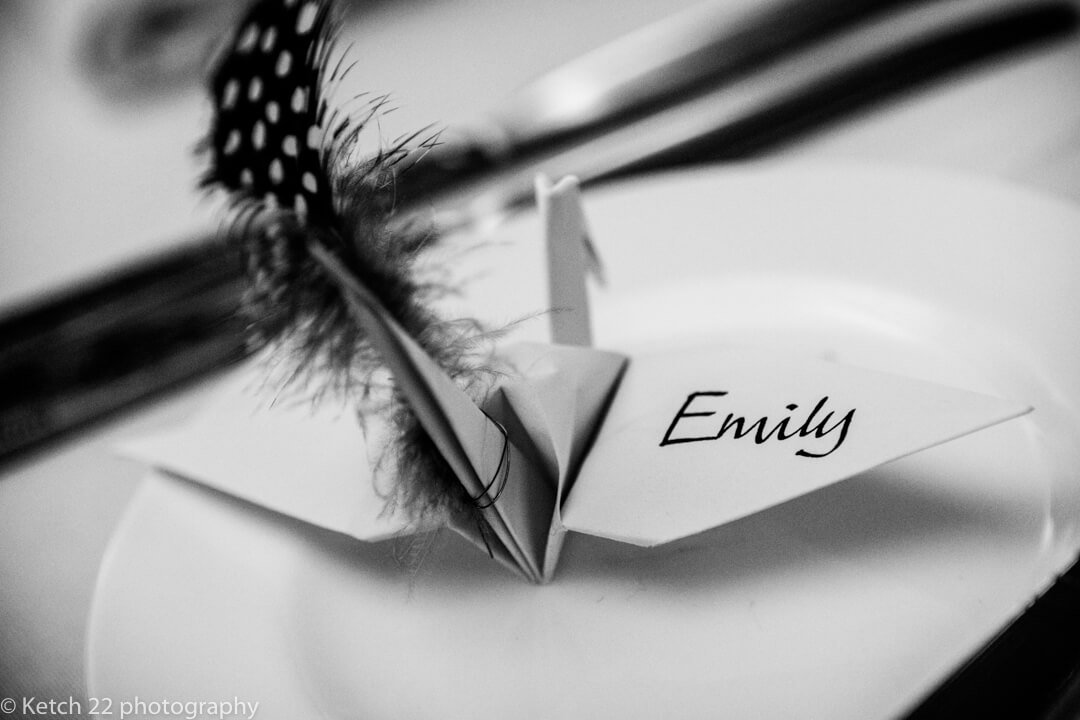 Wedding detail photo of brides place name