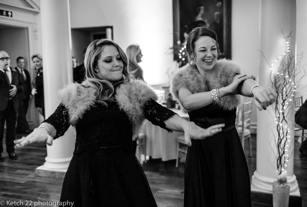 Bridesmaids dancing at North Cadbury Court wedding reception