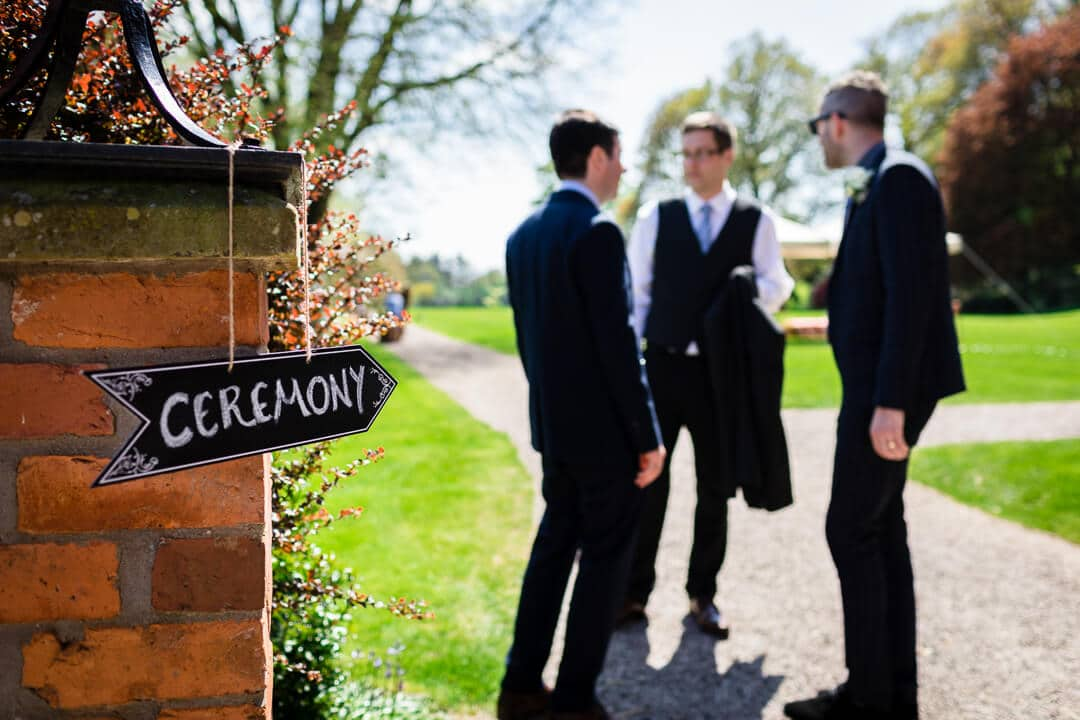 Wedding cremony sign at Homme House