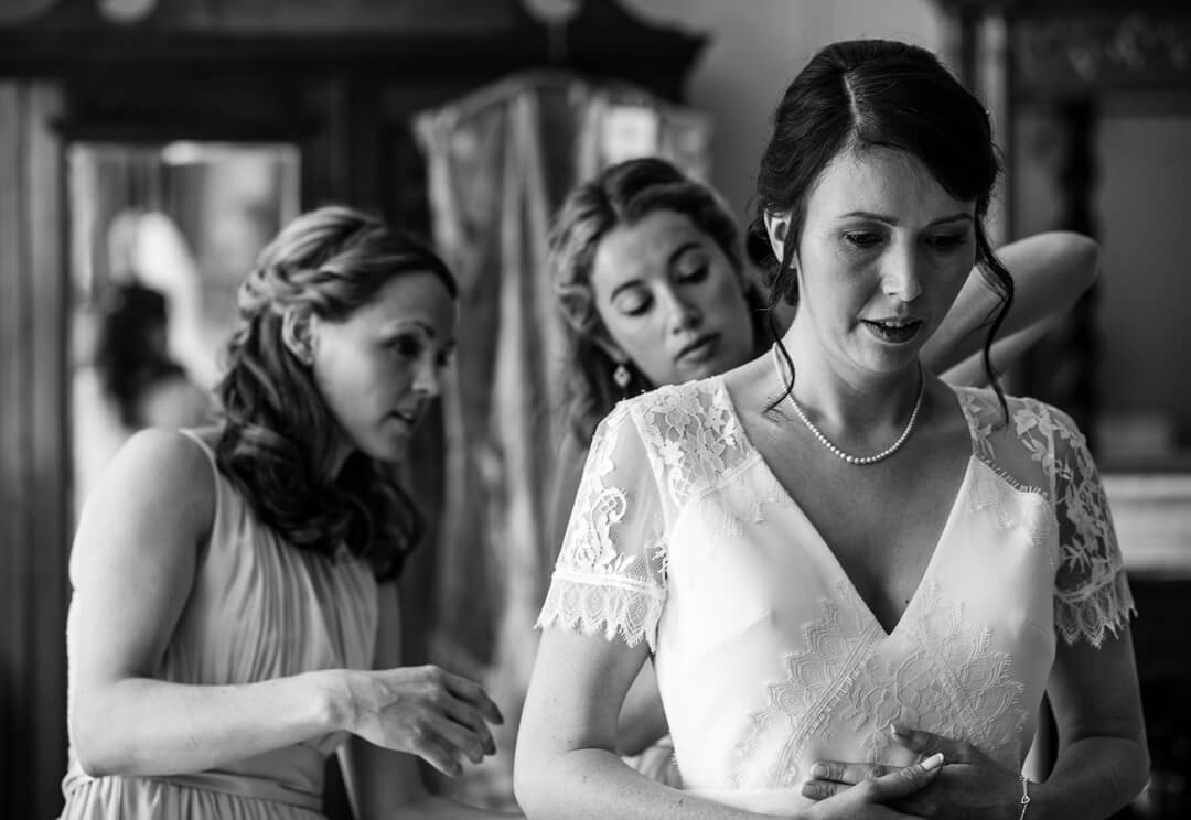 Bride getting ready at Homme House wedding