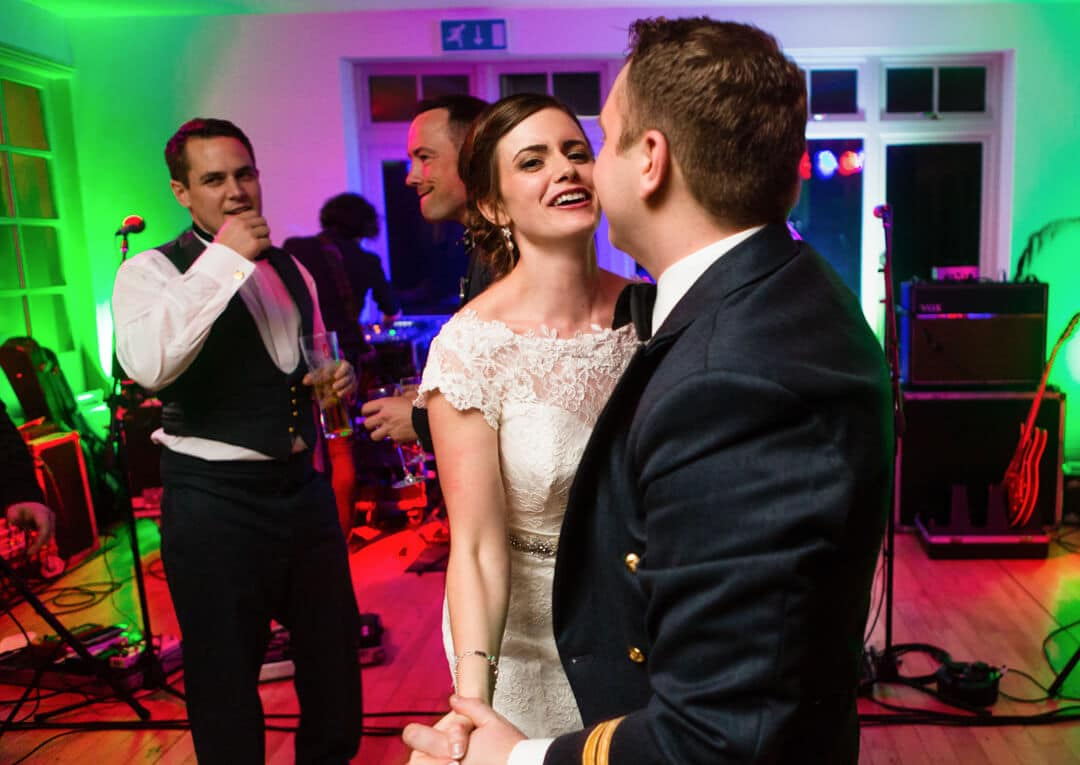 Bride and groom dancing at Winter Welsh wedding