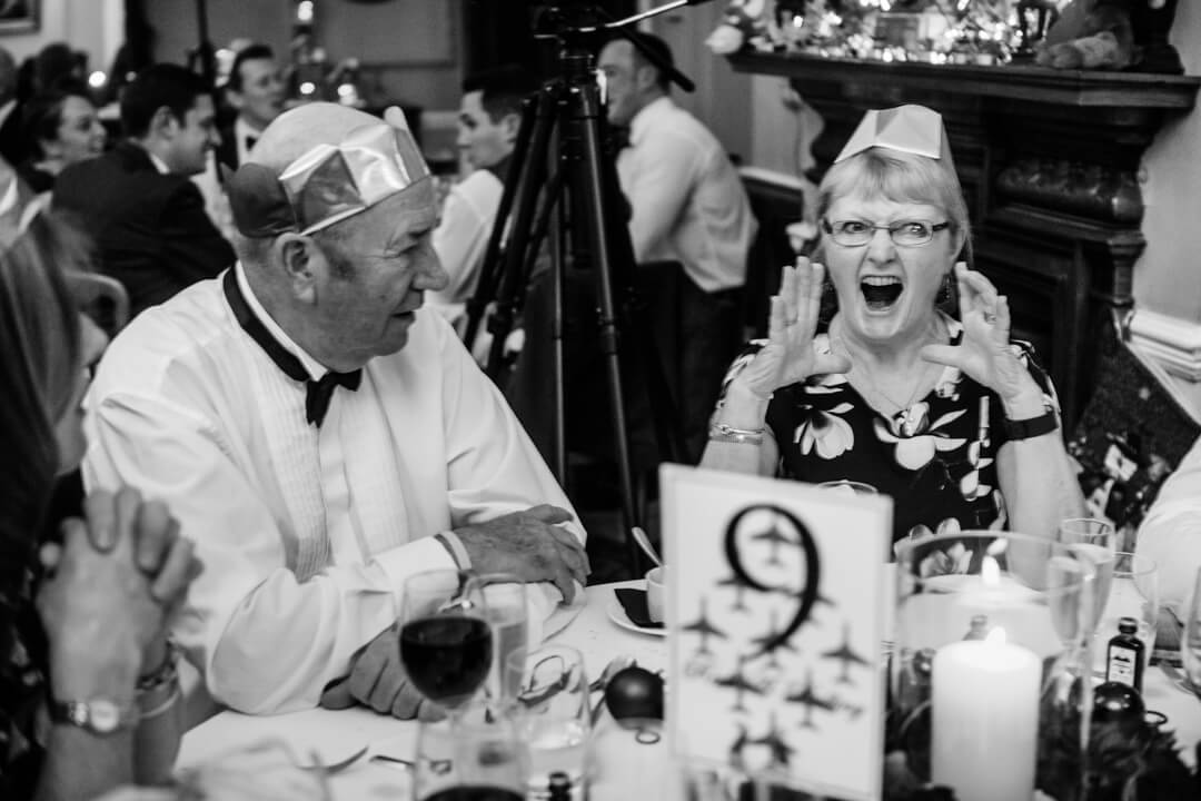 Quirky photo of wedding guest