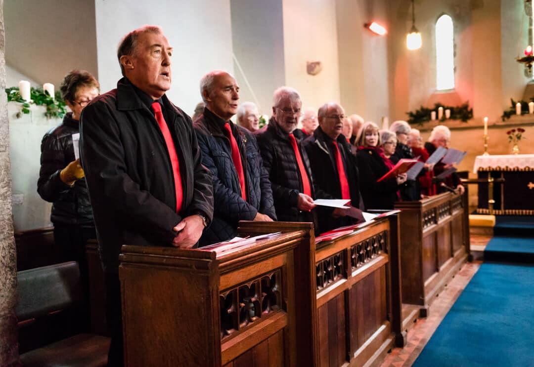 Welsh choir singing at Winter wedding