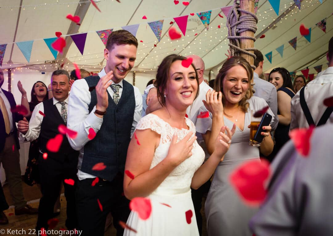 Canon confetti during first dance at Herefordshire wedding