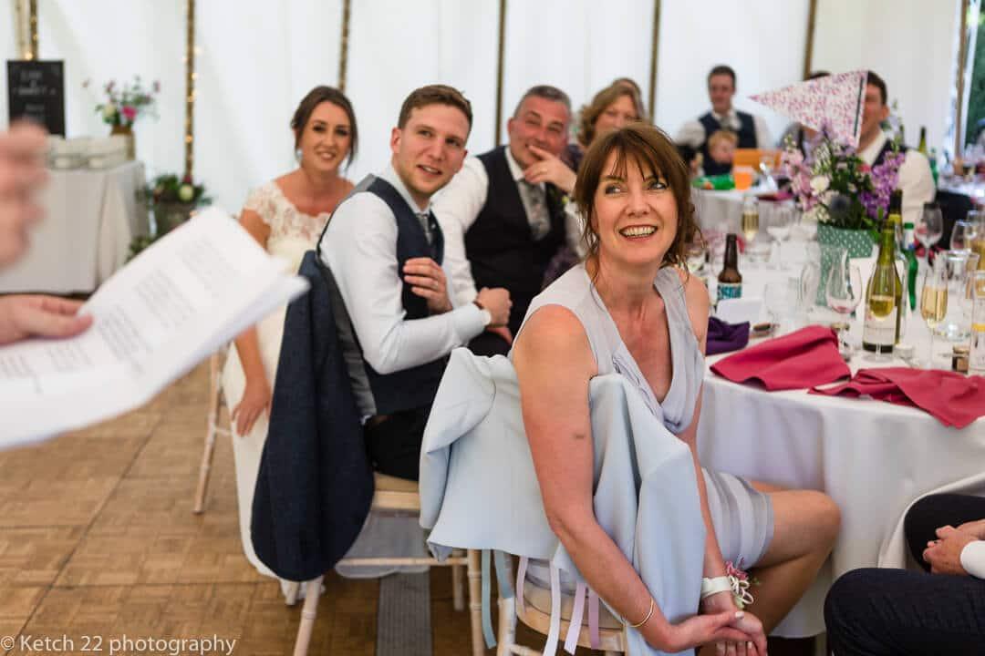 Wedding party listening to speeches