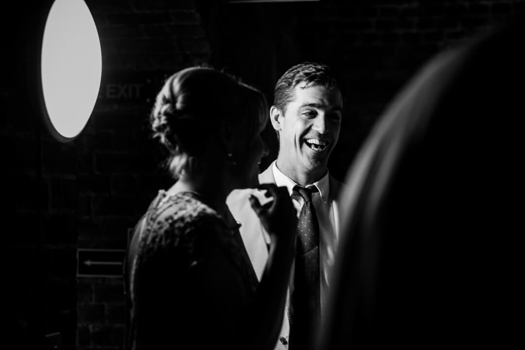ctreative wedding photo of guests in black and white