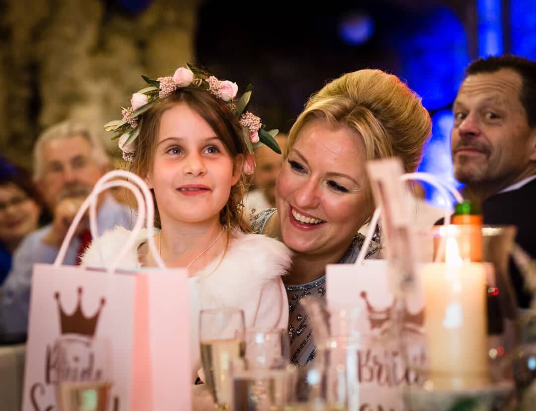 Flower girl listening to speeches at The Square Tower Wedding