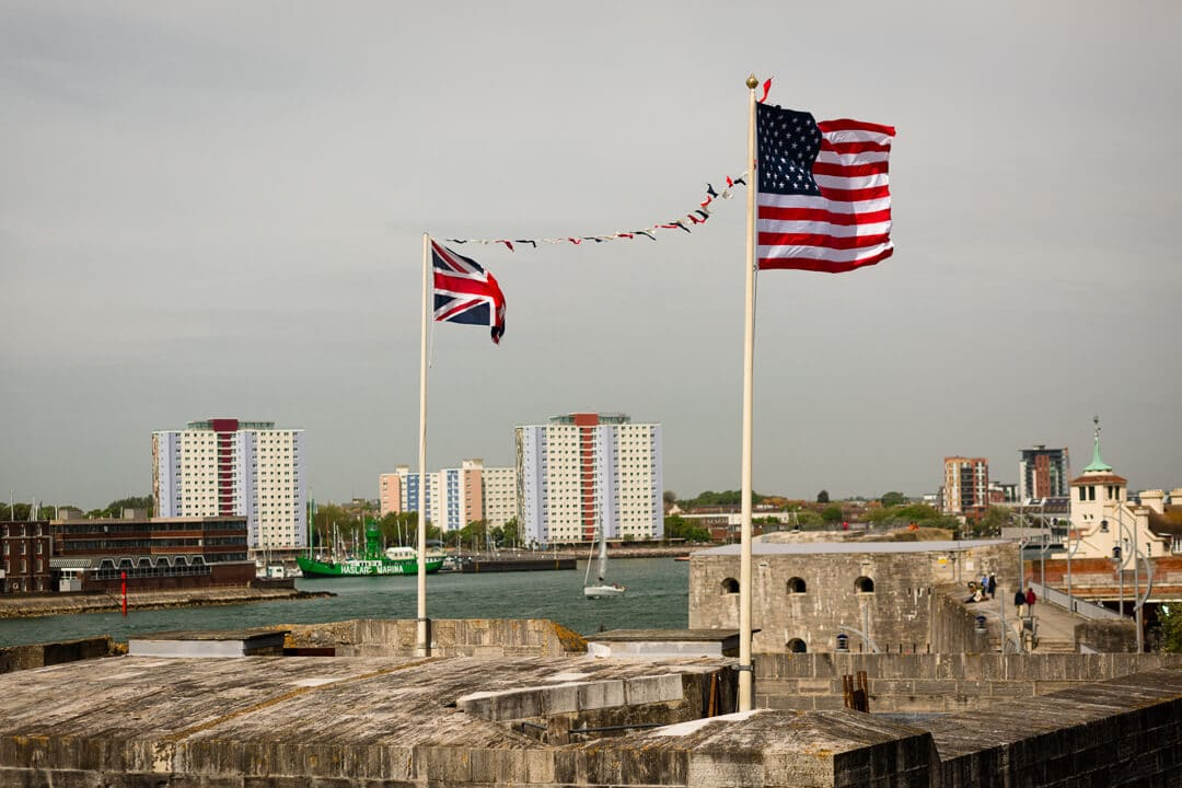 British and American flags at Trans-Altantic wedding