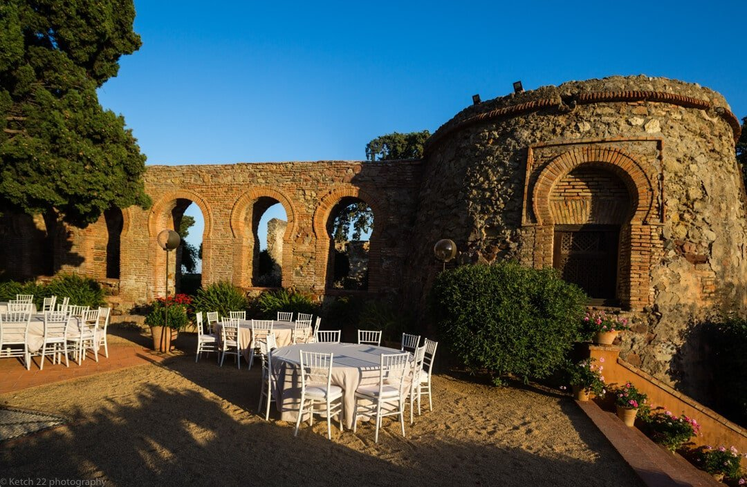 Wedding guest breakfast area at Castillo de Santa Catalina