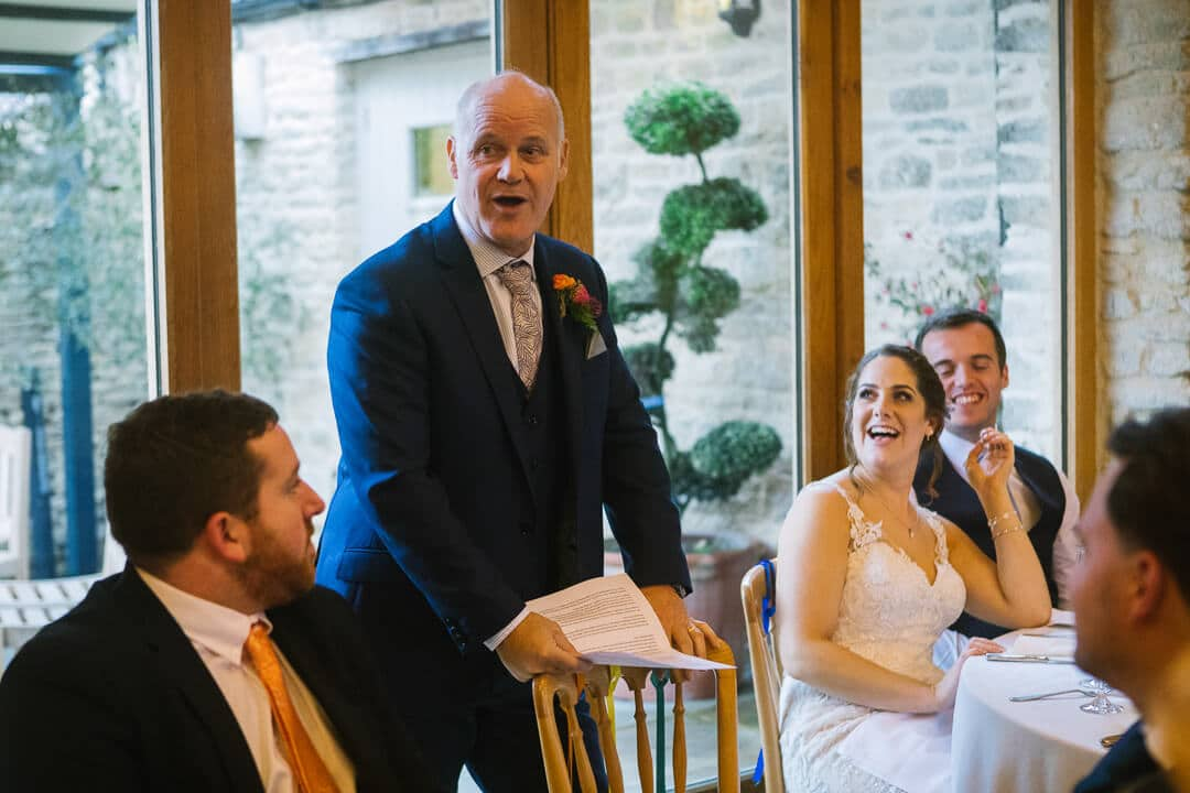 Father of bride making speech at wedding