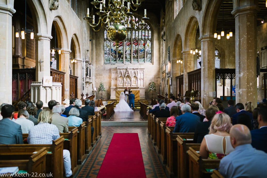 Over view of church wedding in Winchcombe