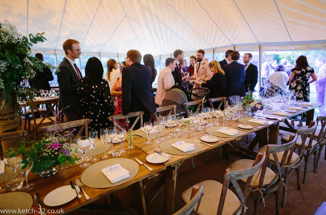 Wedding table set up in marquee