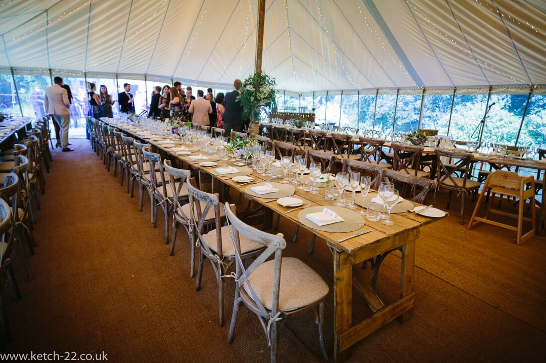 Wedding table set up at Winchcombe wedding