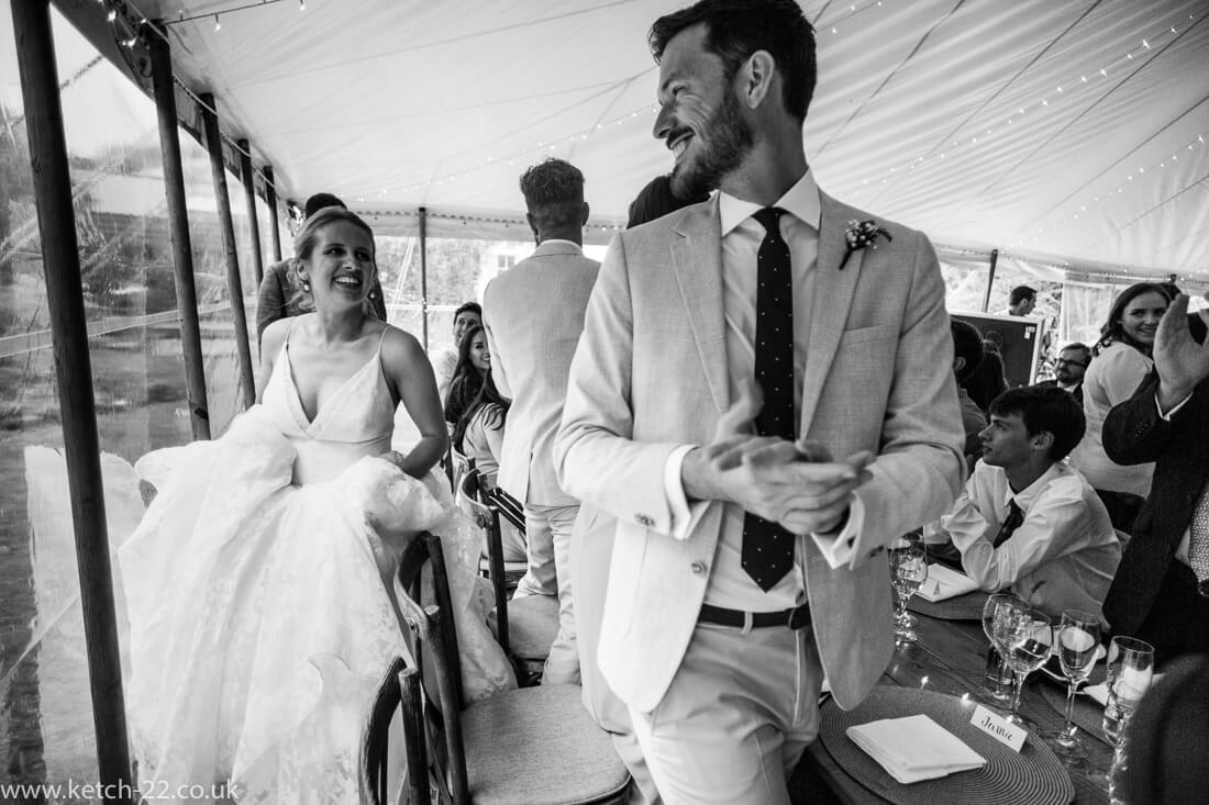 Bride entering marquee - Winchcombe wedding photographer