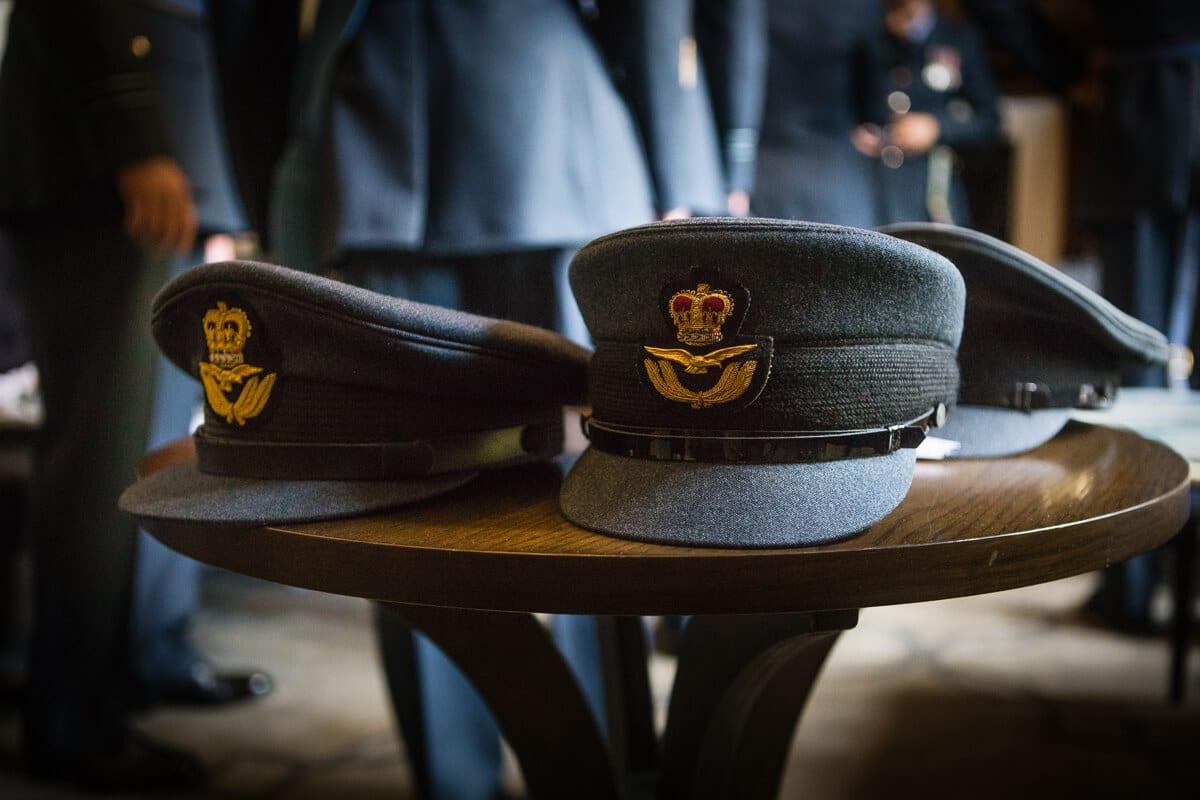 Detail photo of RAF caps at Buckinghamshire wedding