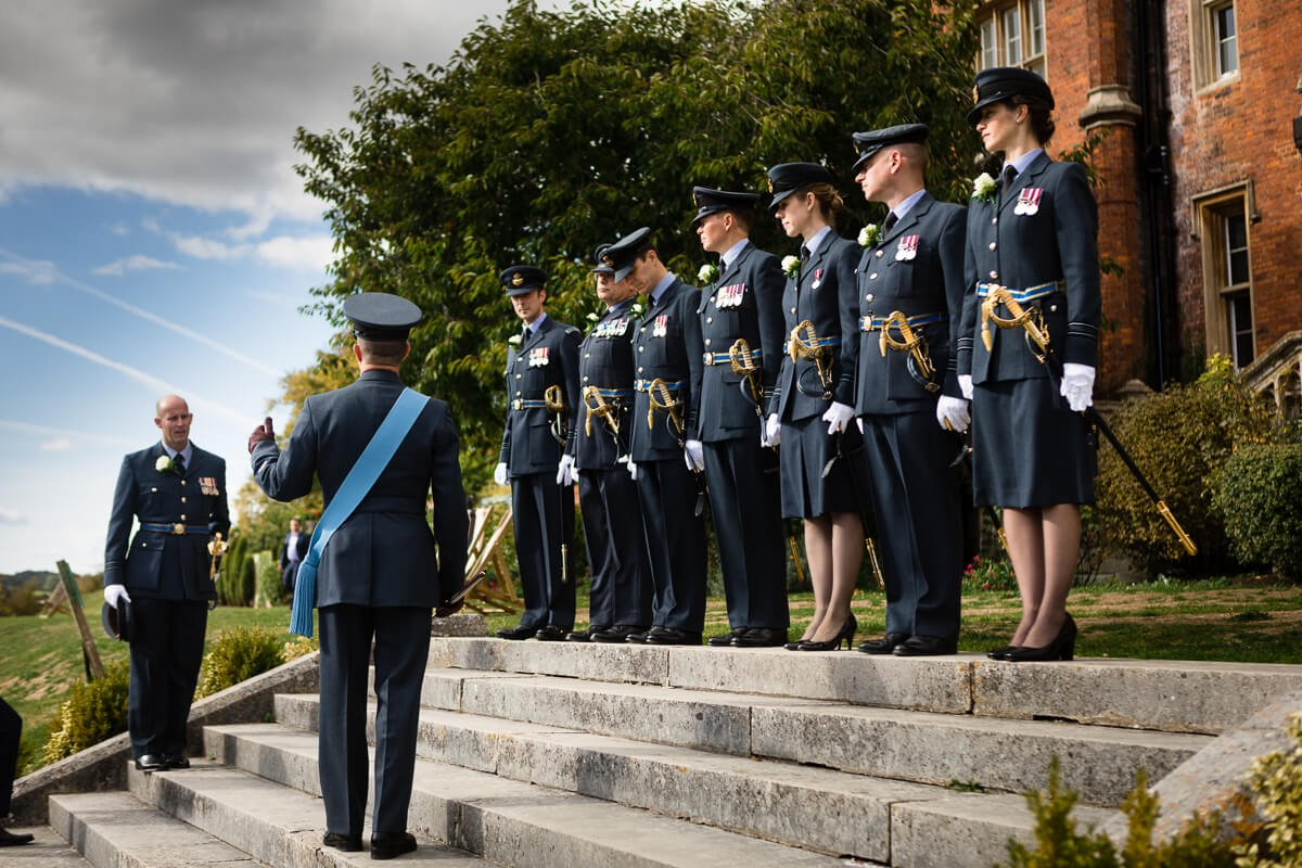 Members of the RAF practising before De Vere Latimer Estate Wedding